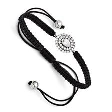 Chisel Stainless Steel CZ Black MacramT Adjustable Bracelet