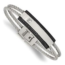 Chisel Stainless Steel Black IP-plated CZ Polished Bracelet