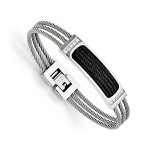Chisel Stainless Steel Black IP-plated Wire CZ Polished Bracelet