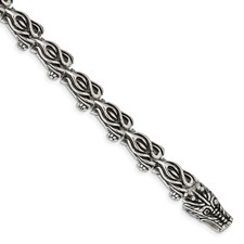 Chisel Stainless Steel Antiqued Dragon Bracelet