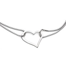 Chisel Stainless Steel Polished Heart Bracelet with 1.5 inch extension