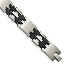 Chisel Stainless Steel Black Rubber Bracelet