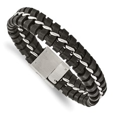 Chisel Stainless Steel Black Leather Brushed and Polished Bracelet