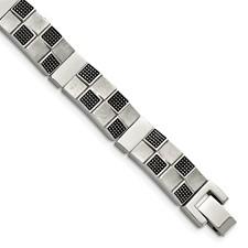 Chisel Stainless Steel Antiqued Brushed and Polished Bracelet