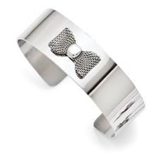 Chisel Stainless Steel Mesh Bow Tie Polished Bangle