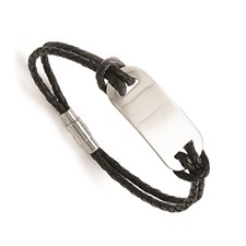 Stainless Steel Polished ID and Black Woven Leather Bracelet