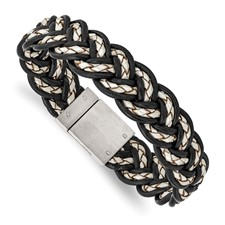 Stainless Steel Brushed Black and Cream Woven Leather Bracelet