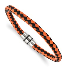 Stainless Steel Polished Black IP Black/Orange Woven Leather Bracelet