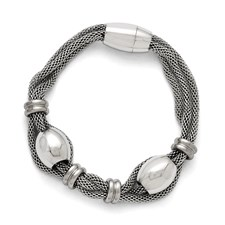 Stainless Steel Polished and Brushed Beads Twisted Bracelet
