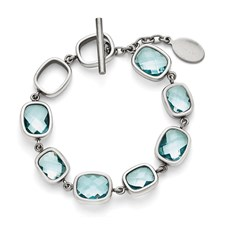 Stainless Steel Polished Blue CZs Toggle with .5in. ext. Bracelet
