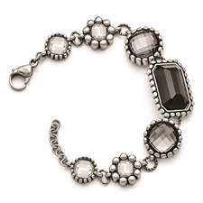 Stainless Steel Polished/Antiqued Glass w/1in ext. Bracelet