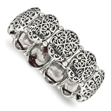 Stainless Steel Polished/Antiqued Oval Stretch Bracelet