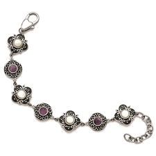 St. Steel Polished/Antiqued MOP/Purple Glass w/1.75in ext. Bracelet
