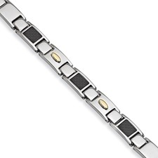 Chisel Stainless Steel Carbon Fiber 24k Gold Plated Bracelet