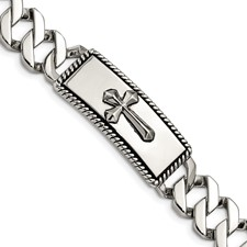 Stainless Steel Polished and Antiqued Cross Bracelet