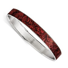 Stainless Steel Polished Red/Black Enameled Wide Bangle