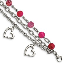 Stainless Steel Pink Agate w/Hearts Bracelet