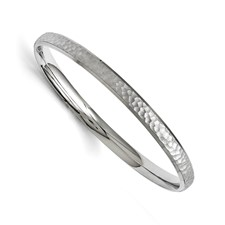 Stainless Steel Polished and Laser Cut Hammered Bangle