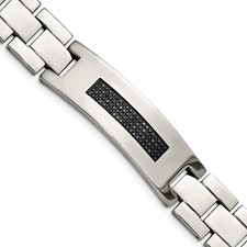 Stainless Steel Polished 1/2ct tw. Diamond Bracelet