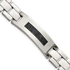 Stainless Steel Polished 1/2ct tw. Diamond Bracelet