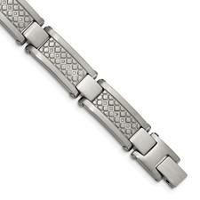 Stainless Steel Matte/Antiqued 1/10ct.tw Diamond Bracelet