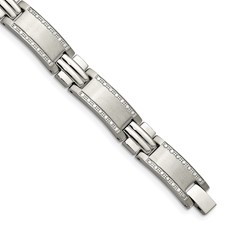 Stainless Steel Polished/Brushed 1ct tw. Diamond Bracelet