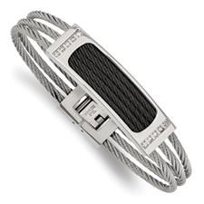 Stainless Steel Polished Black IP-plated .15ct tw. Diamond Bracelet