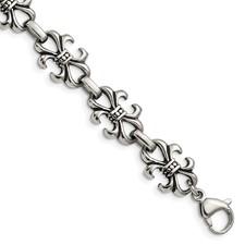 Stainless Steel Polished and Antiqued Fleur de Lis Bracelet