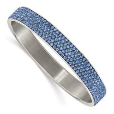 Stainless Steel Polished Blue Enamel w/Crystals Thin Flat Bangle
