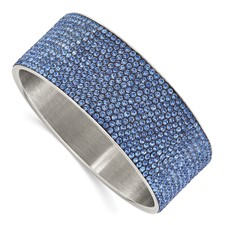 Stainless Steel Polished Blue Enamel w/Crystals Wide Flat Bangle