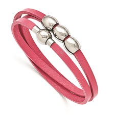 Stainless Steel Polished Pink Leather Wrap Bracelet