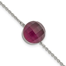 Stainless Steel Polished Maroon Glass w/1in ext Bracelet