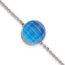 Stainless Steel Polished Blue Glass w/1in ext Bracelet