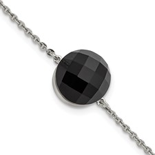 Stainless Steel Polished Dark Brown Glass w/1in ext Bracelet