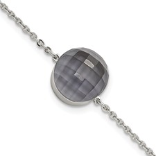 Stainless Steel Polished Grey Glass w/1in ext Bracelet