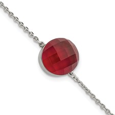 Stainless Steel Polished Red Glass w/1in ext Bracelet