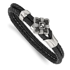 Stainless Steel Polished and Antiqued Leather Bracelet