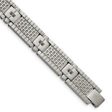 Stainless Steel Antiqued Brushed CZ Bracelet