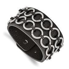 Stainless Steel Polished Textured Black Leather Bracelet
