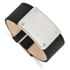 Stainless Steel Polished Leather Bracelet