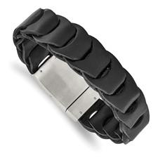 Stainless Steel Brushed Black Leather Bracelet