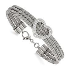 Stainless Steel Polished Heart w/ CZ Bracelet