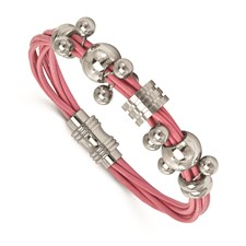 Stainless Steel Polished Dangle Bead Pink Leather Bracelet