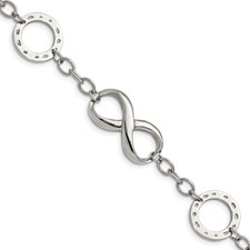 Stainless Steel Polished Infinity Symbol and Anchor 7in. Bracelet