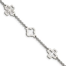 Stainless Steel Cross & Clovers Bracelet