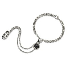 Stainless Steel Antiqued/Polished Crystal/Glass Connected Bracelet&Ring