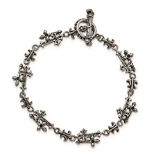 Stainless Steel Antiqued and Polished Cross Bracelet