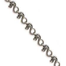 Stainless Steel Antiqued and Polished Dragon 7.5in Bracelet
