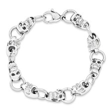 Chisel Stainless Steel Polished Skull Bracelet