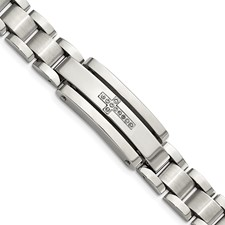 Stainless Steel Polished & Brushed CZ Cross 9in ID Bracelet